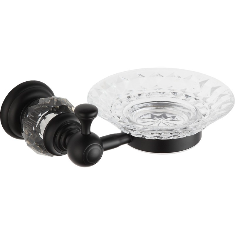Skleněná miska na mýdlo s úchytem MEXEN ESTELA černá