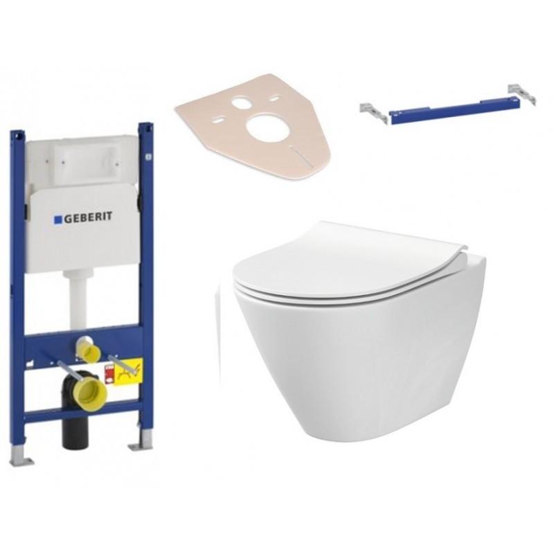 Sada podomítkový modul GEBERIT DUOFIX + příčný nosník modulu + závěsná WC mísa CERSANIT CITY + prkénko