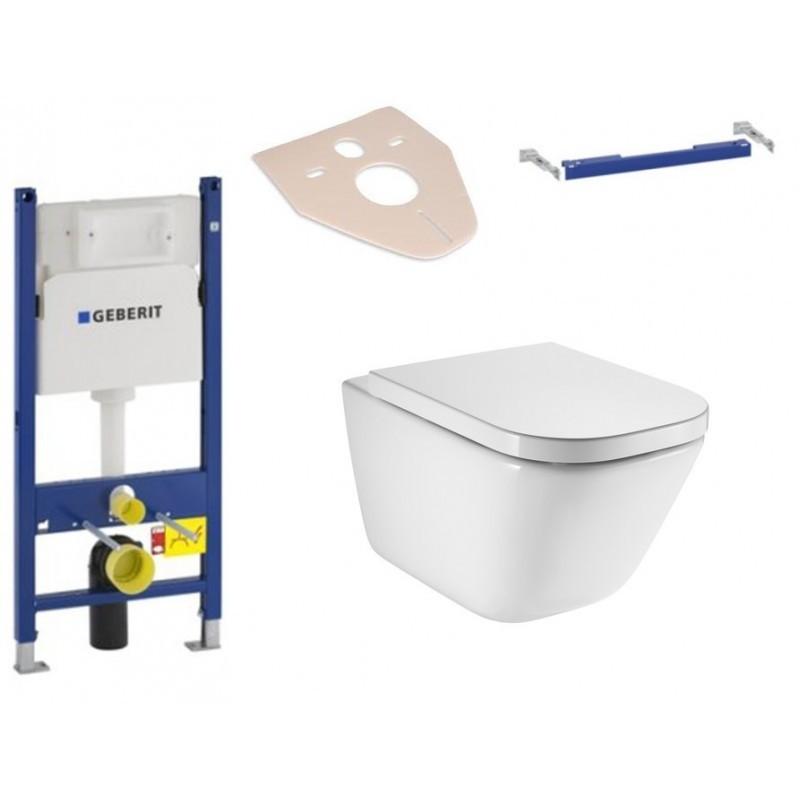 Sada podomítkový modul GEBERIT DUOFIX BASIC + příčný nosník modulu + závěsná WC mísa ROCA GAP + prkénko FREDDY
