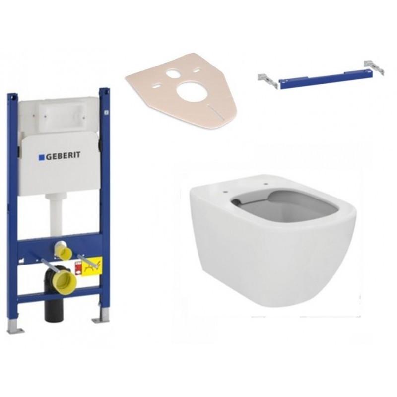 IDEAL STANDARD Sada podomítkový modul GEBERIT DUOFIX BASIC + příčný nosník modulu + závěsná WC mísa TESI + prkénko
