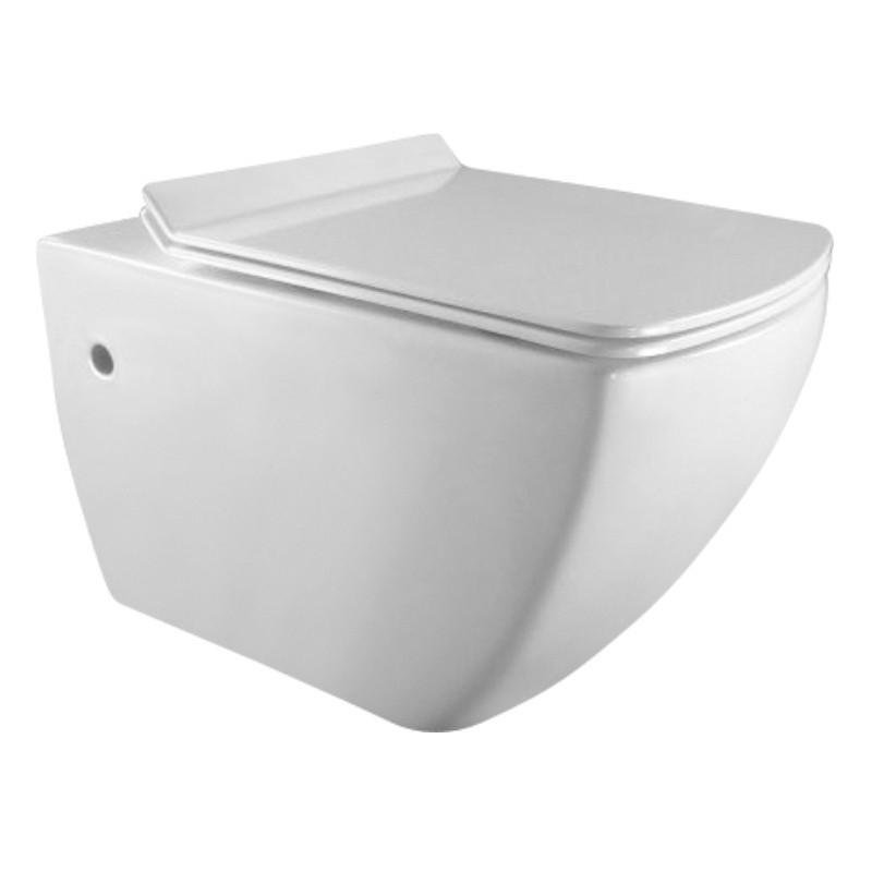 Závěsná WC mísa MEXEN VEGA bílá, rimless + prkénko slim