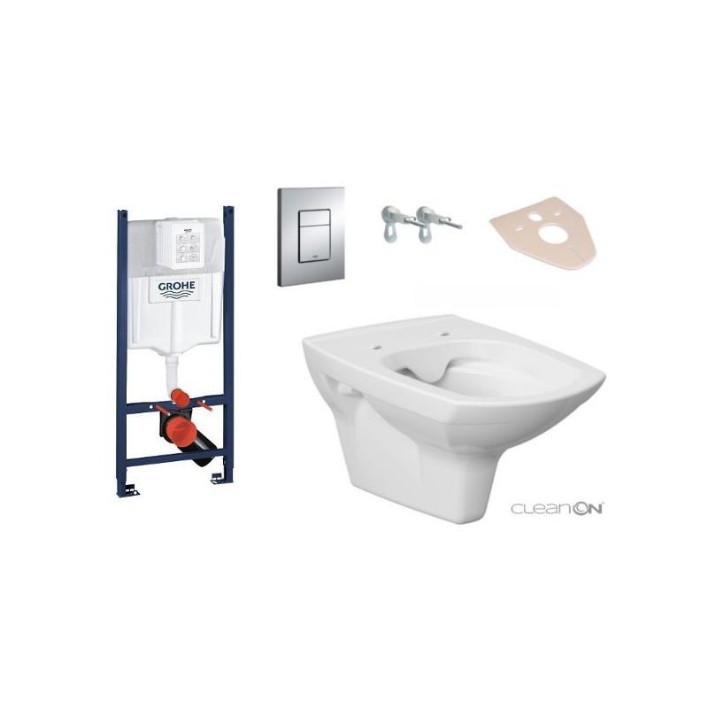 CERSANIT Sada podomítkový modul GROHE 4v1 + závěsná WC mísa CARINA + prkénko AVA