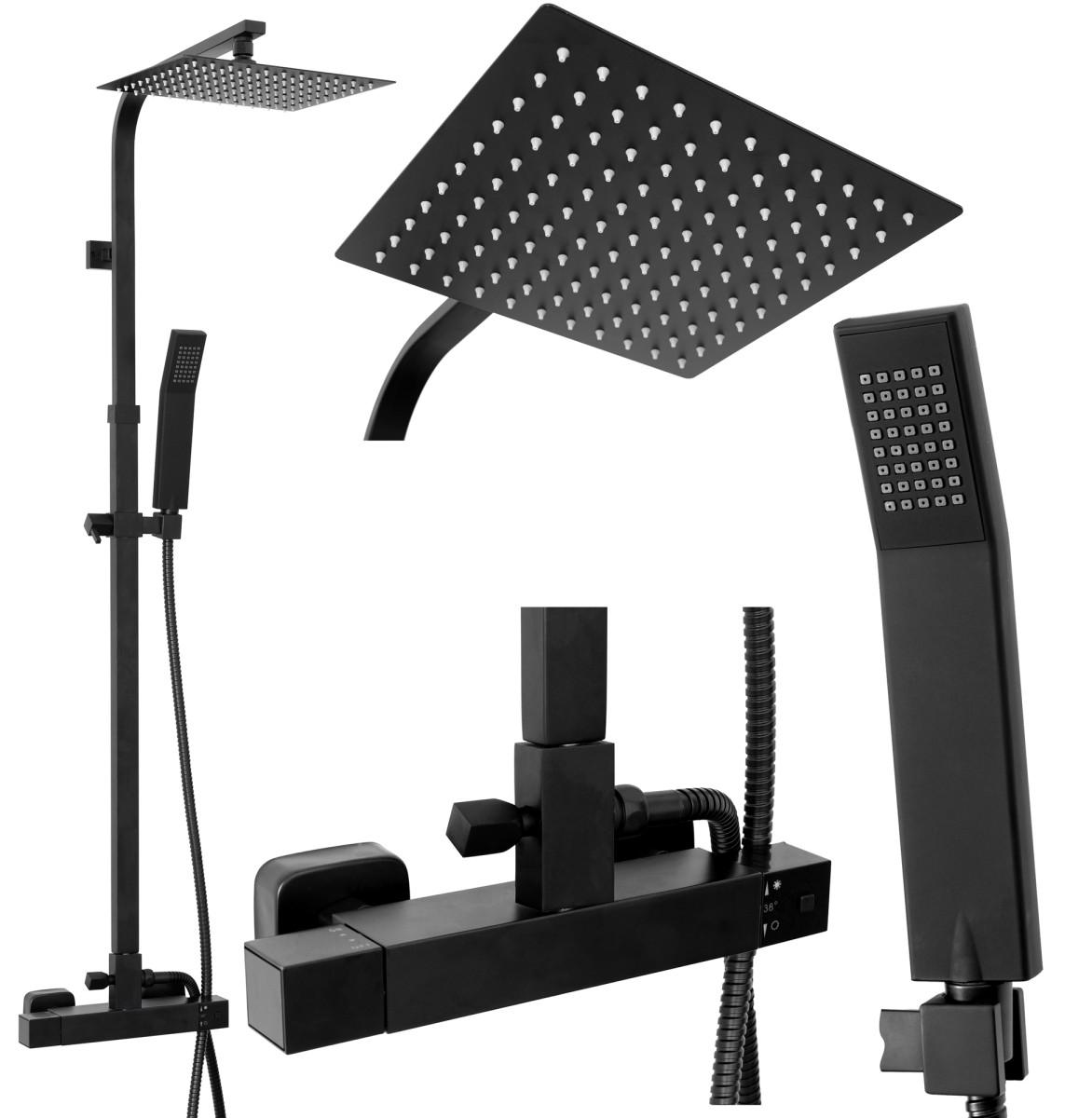 Sprchový set termostatický Rea MILAN černý