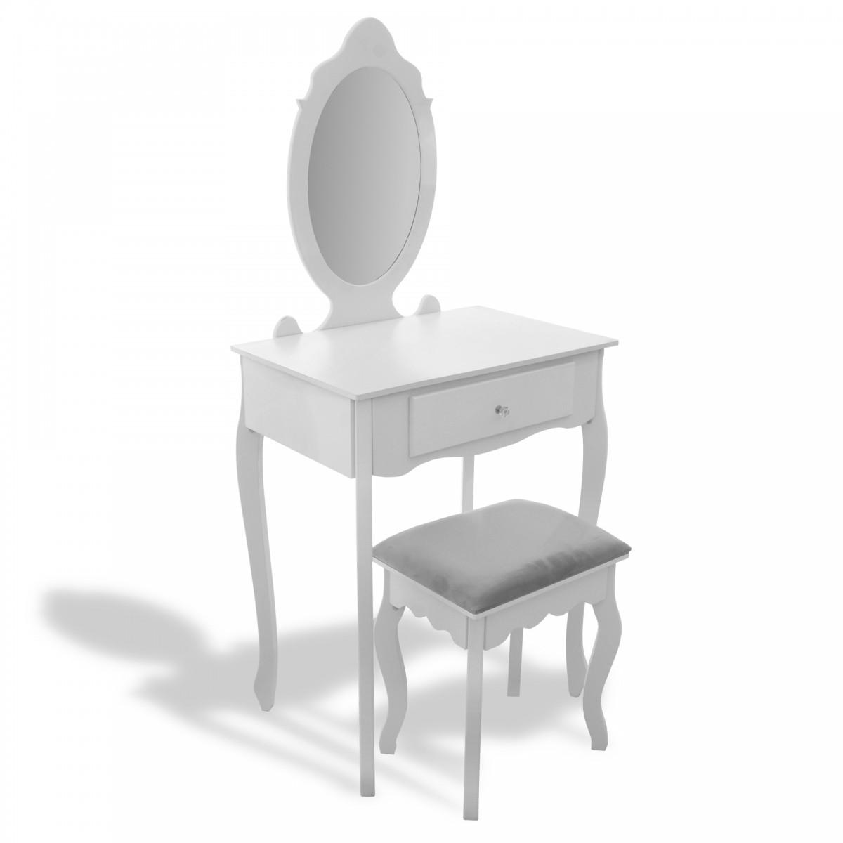 Tutumi Toaletní kosmetický stolek se zrcadlem a taburetem 17070 bílý