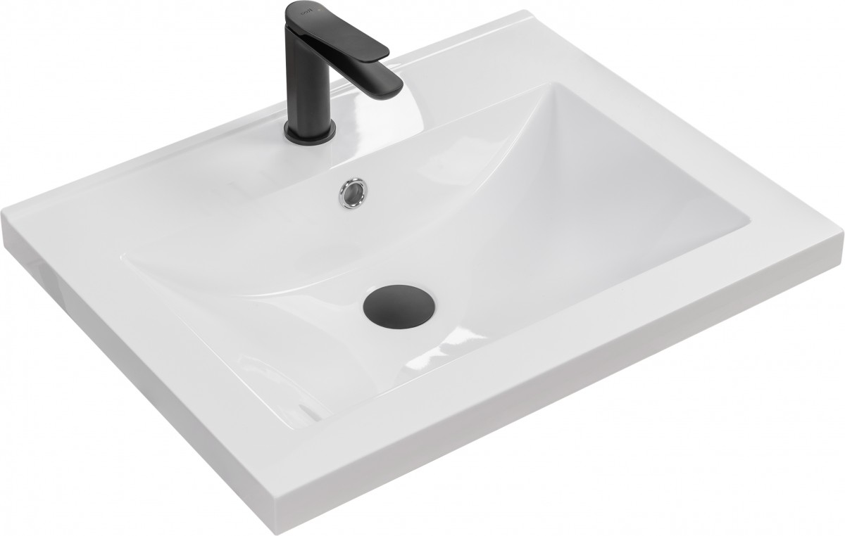 Umyvadlo z konglomerátu zápustné Rea Silva 60,5x46 cm bílé