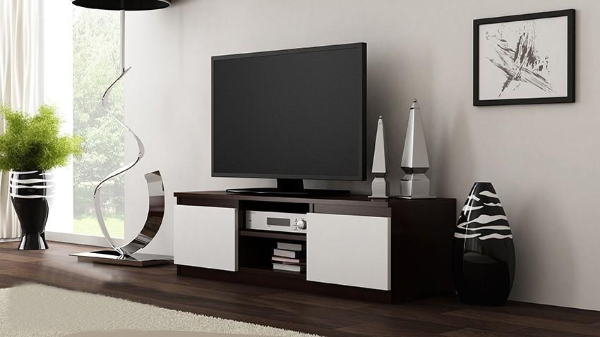 Shoptop TV stolek RTV LCD 120 tmavě hnědý, bílý