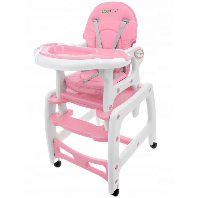 Levně Dětská jídelní židlička EcoToys 3v1 DESTI růžová