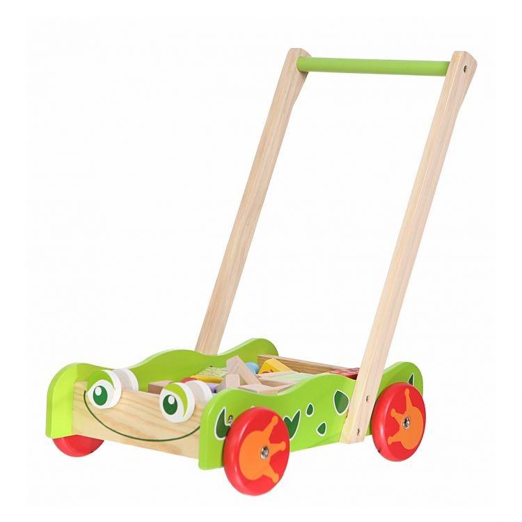 ECOTOYS Dřevěný vozík - chodítko Eco Toys s kostkami