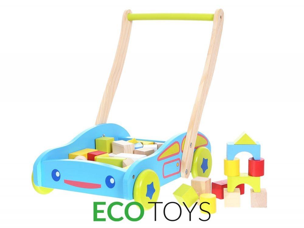 Dětské dřevěné chodítko s kostkami EcoToys modré