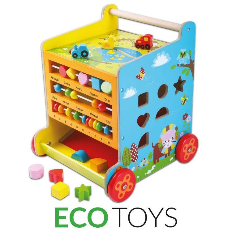 Dřevěná edukační kostka + chodítko EcoToys
