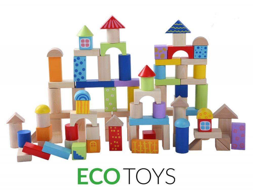 Dřevěné kostky EcoToys 100 ks