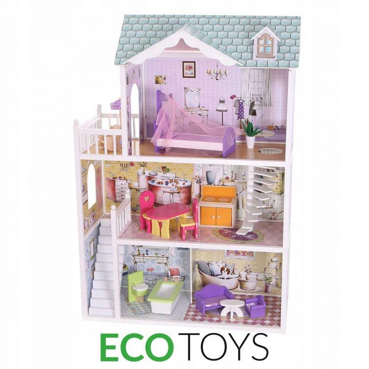 ECOTOYS Dřevěný domek pro panenky Rezidence Beverly Hills Eco Toys s panenkou Barbie