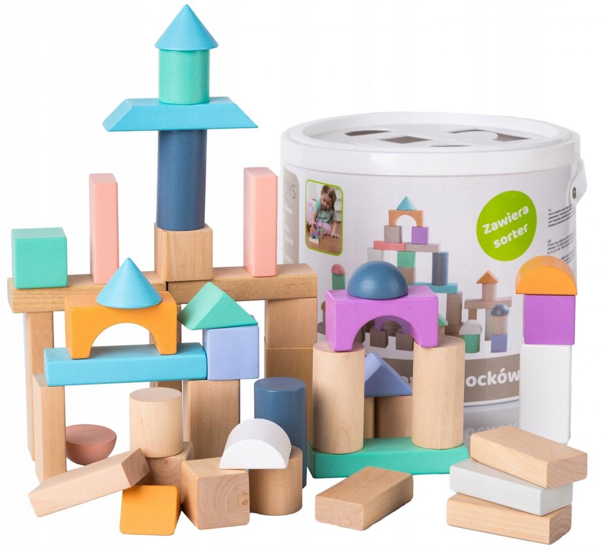 ECOTOYS Dřevěné kostky Eco Toys 50 ks