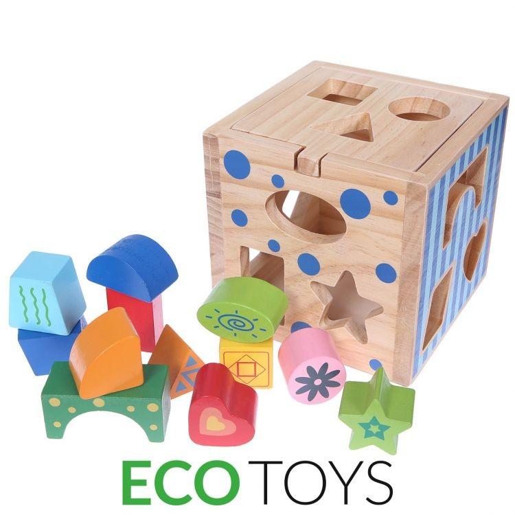 ECOTOYS Dřevěná kostka s kostičkami Eco Toys