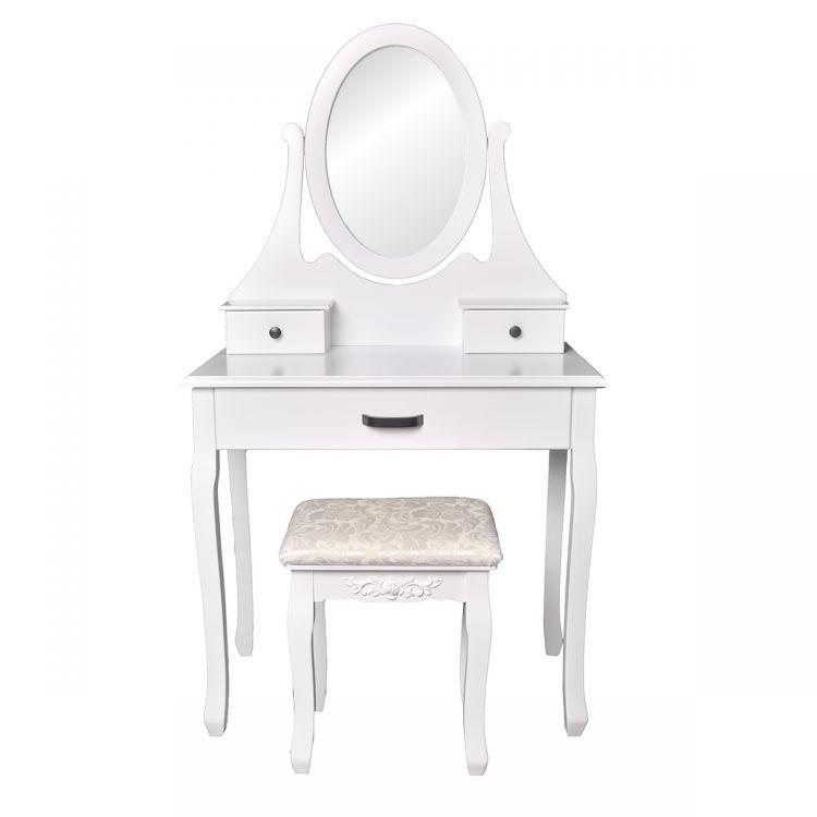 GOODHOME Toaletní kosmetický stolek se zrcadlem + taburetem Lucy