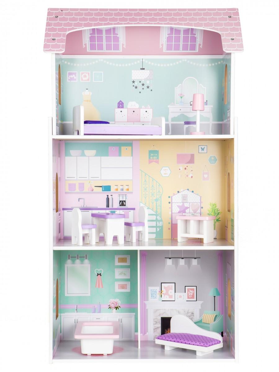 ECOTOYS Dřevěný domeček pro panenky růžový