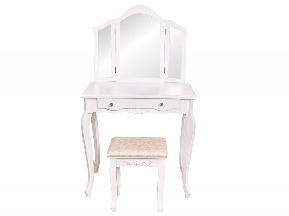 GOODHOME Toaletní kosmetický stolek 3 zrcadla + taburet Adrianna bílý