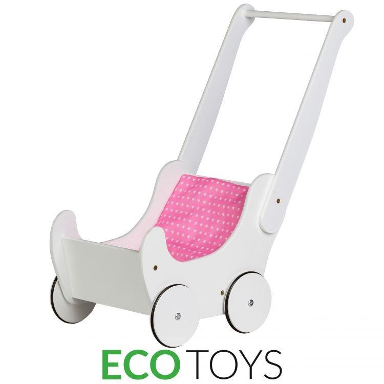Dřevěný kočárek pro panenky chodítko Ecotoys