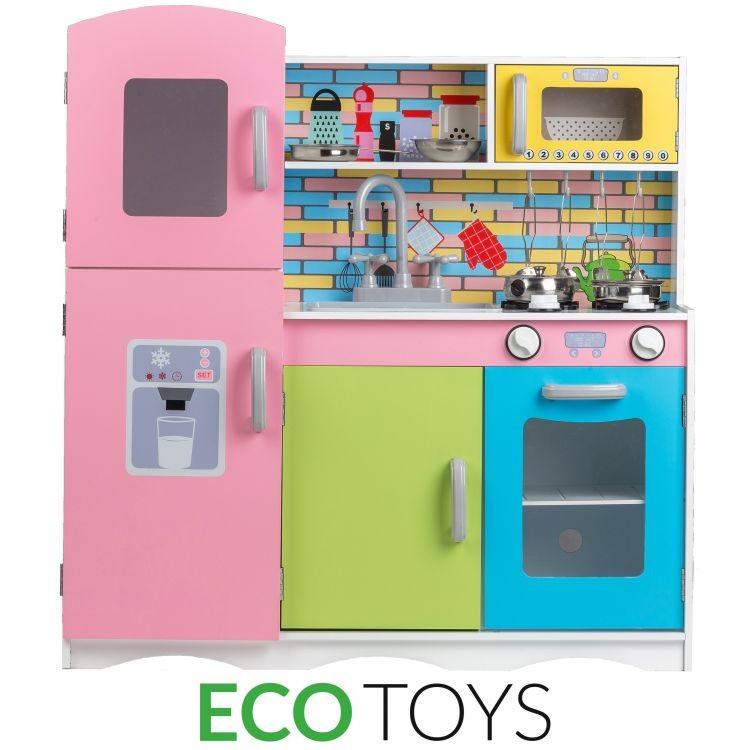 ECOTOYS Dřevěná kuchyňská linka s příslušenstvím Eco Toys - barevná