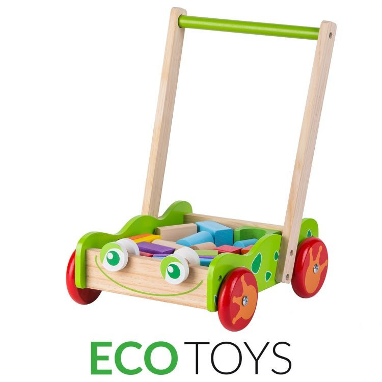 ECOTOYS Dřevěný vozík - chodítko Eco Toys s kostkami 20 ks