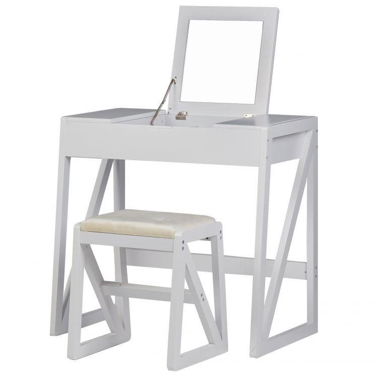 GOODHOME Toaletní kosmetický stolek se zrcadlem + taburet Claire bílý