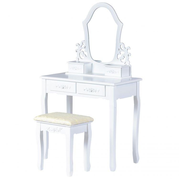 GOODHOME Toaletní kosmetický stolek se zdrcadlem Molly bílý