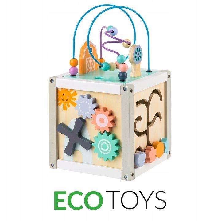 ECOTOYS Dřevěná kostka - vkládačka Eco Toys