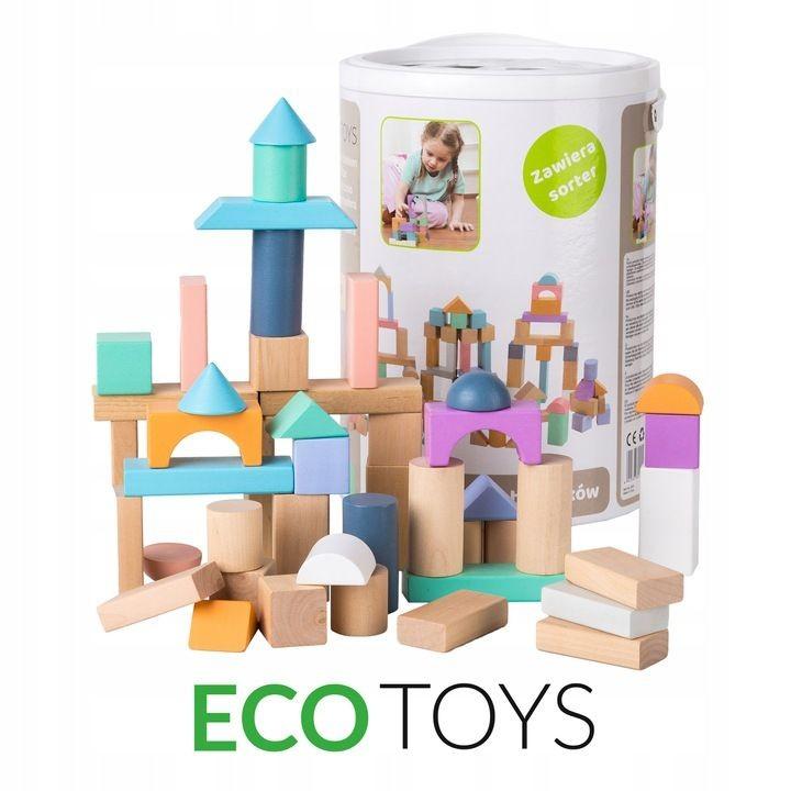 ECOTOYS Dřevěné kostky Eco Toys 100 ks