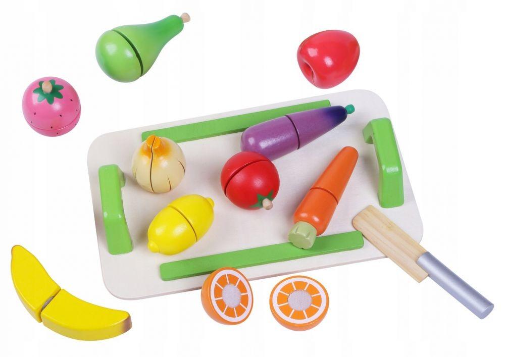 ECOTOYS Sada dřevěného ovoce a zeleniny pro děti Eco Toys