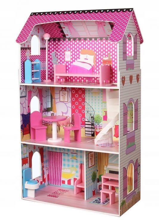 Velký dřevený domek pro panenky Ecotoys