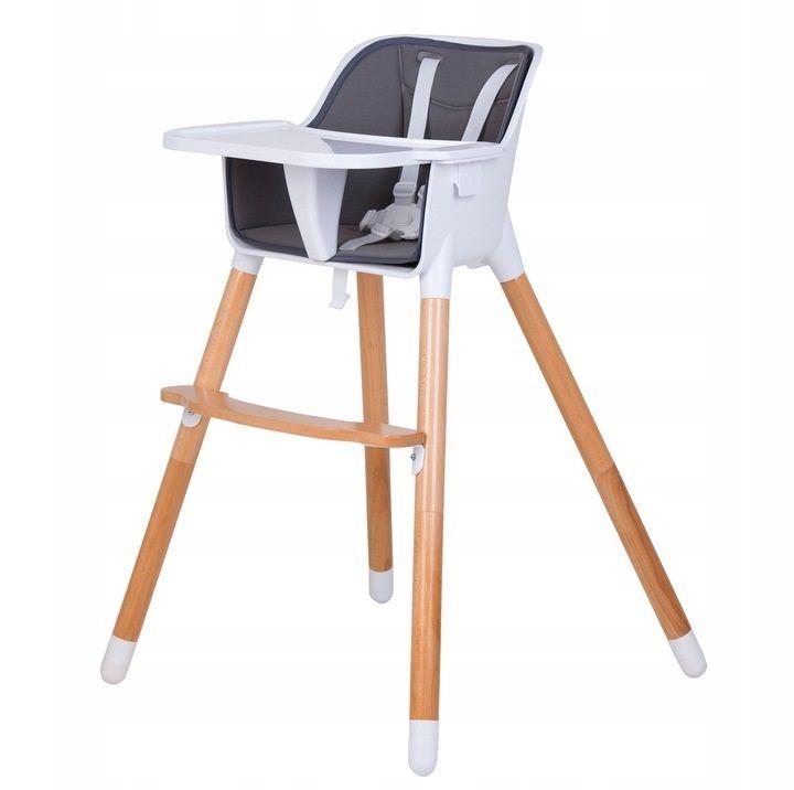 ECOTOYS Jídelní židlička dřevěná 2v1