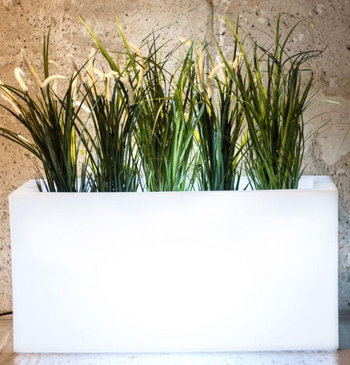 MONUMO Květináč Lungo s osvětlením bílý