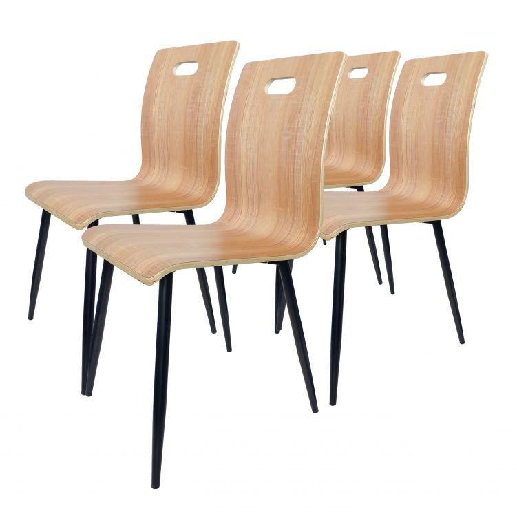 GOODHOME Sestava 4 židlí Rogo - hnědá