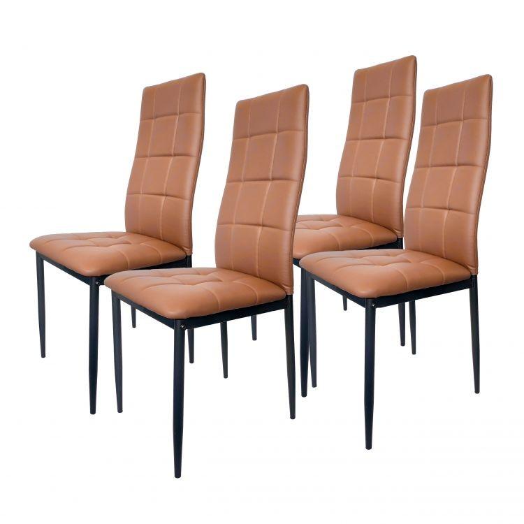 GOODHOME Sada 4 židlí z eko kůže - hnědá