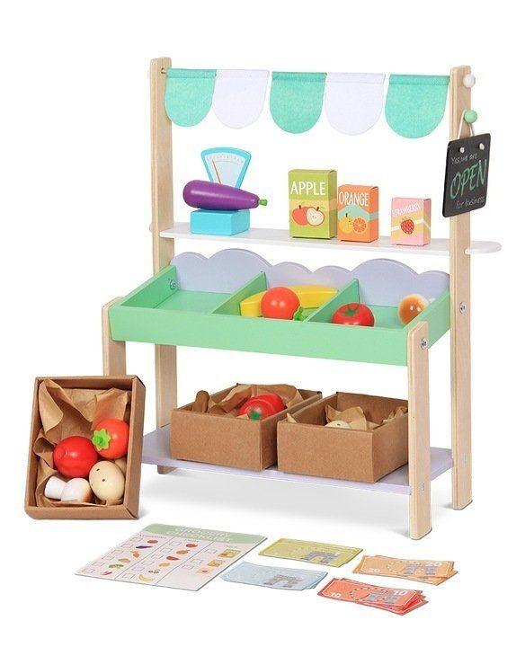 ECOTOYS Dřevěná tržnice pro děti + 37 kusů