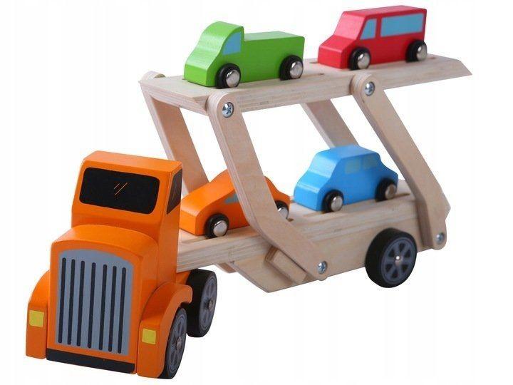 ECOTOYS Dřevěný náklaďák + 4 autíčka