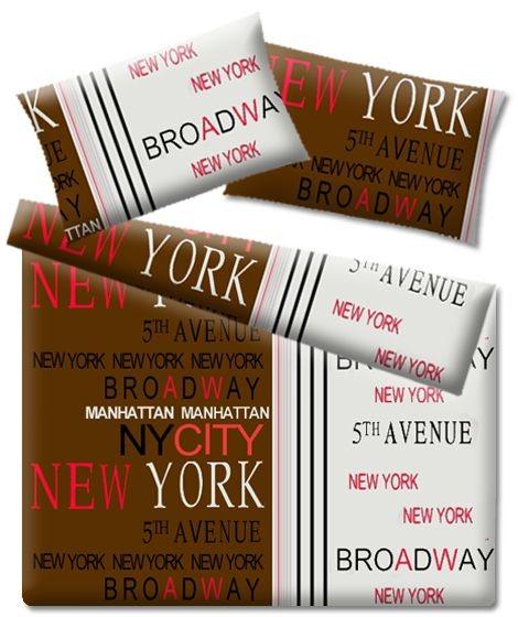 Scandi Bavlněné povlečení New York hnědé 160x200cm + 2 povlaky na polštáře + prostěradlo