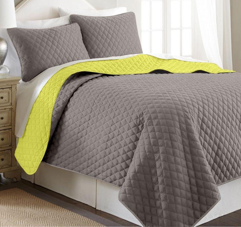 f7f0716828e9 Scandi Oboustranný přehoz na postel PIRUU 200x220 cm - šedo-hnědý hořčicový