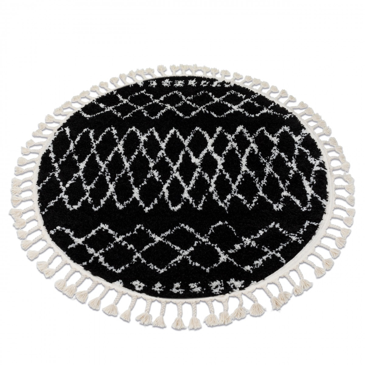 3kraft Kulatý shaggy koberec BERBER ETHNIC G3802 černý