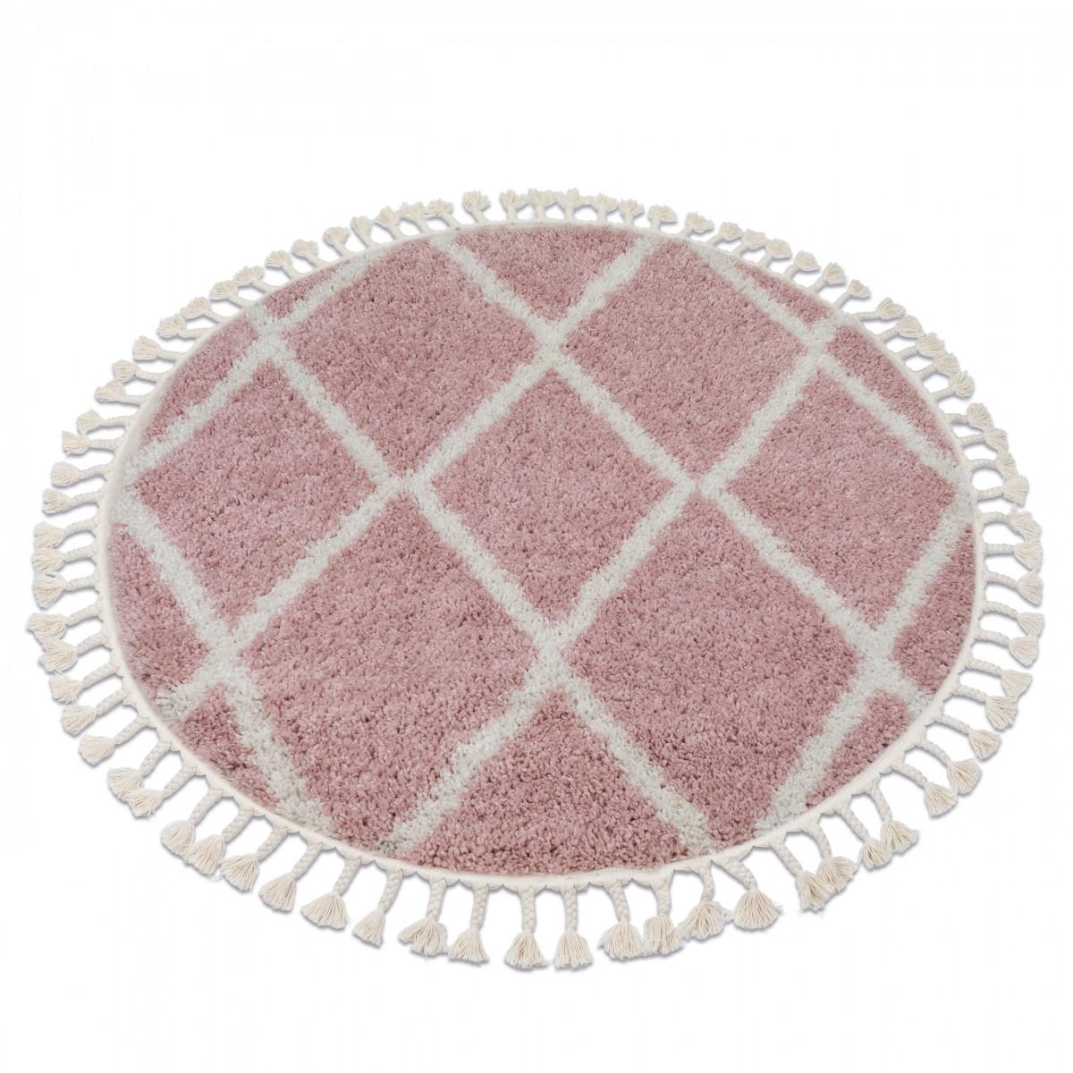 3kraft Kulatý shaggy koberec BERBER TROIK růžový