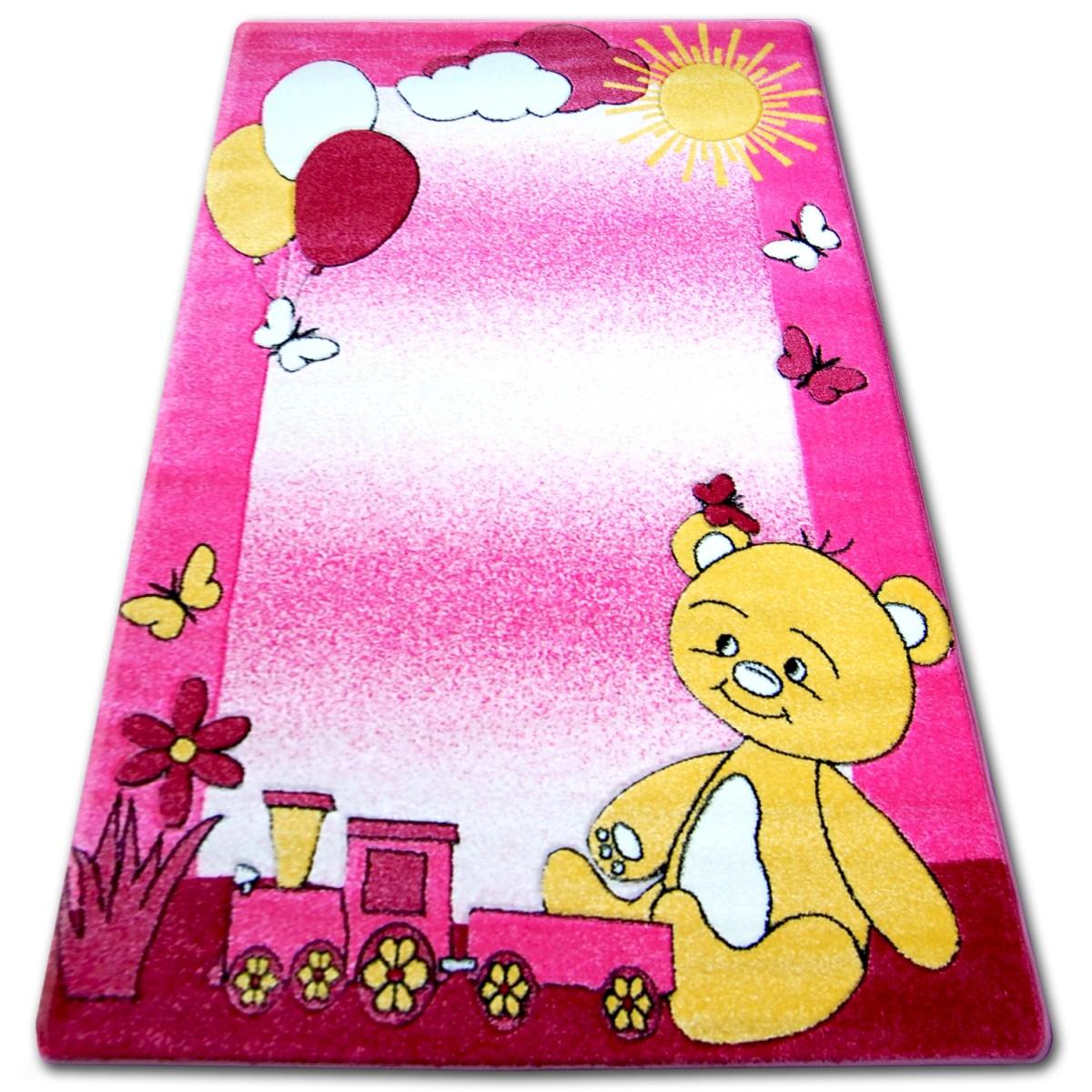 3kraft Dětský koberec HAPPY TEDDY růžový