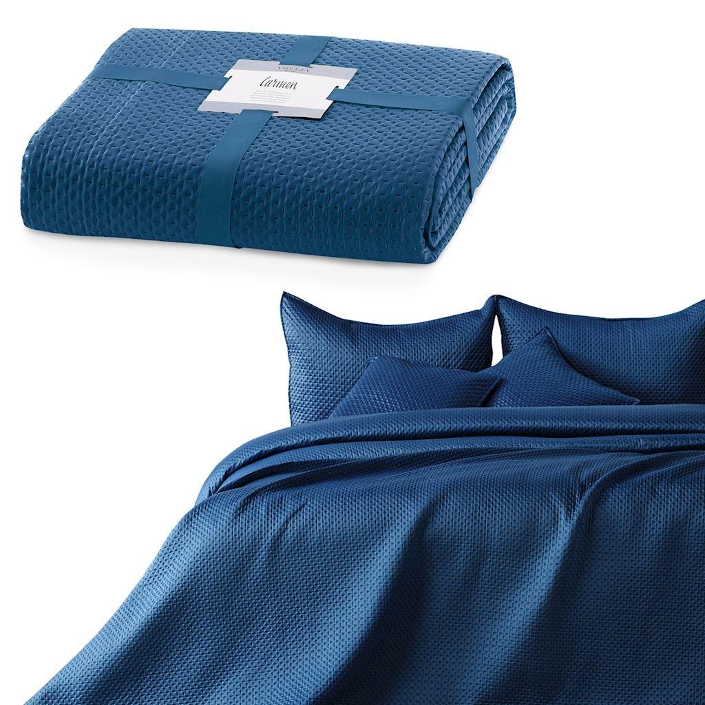 AmeliaHome Přehoz na postel Carmen tmavě modrý