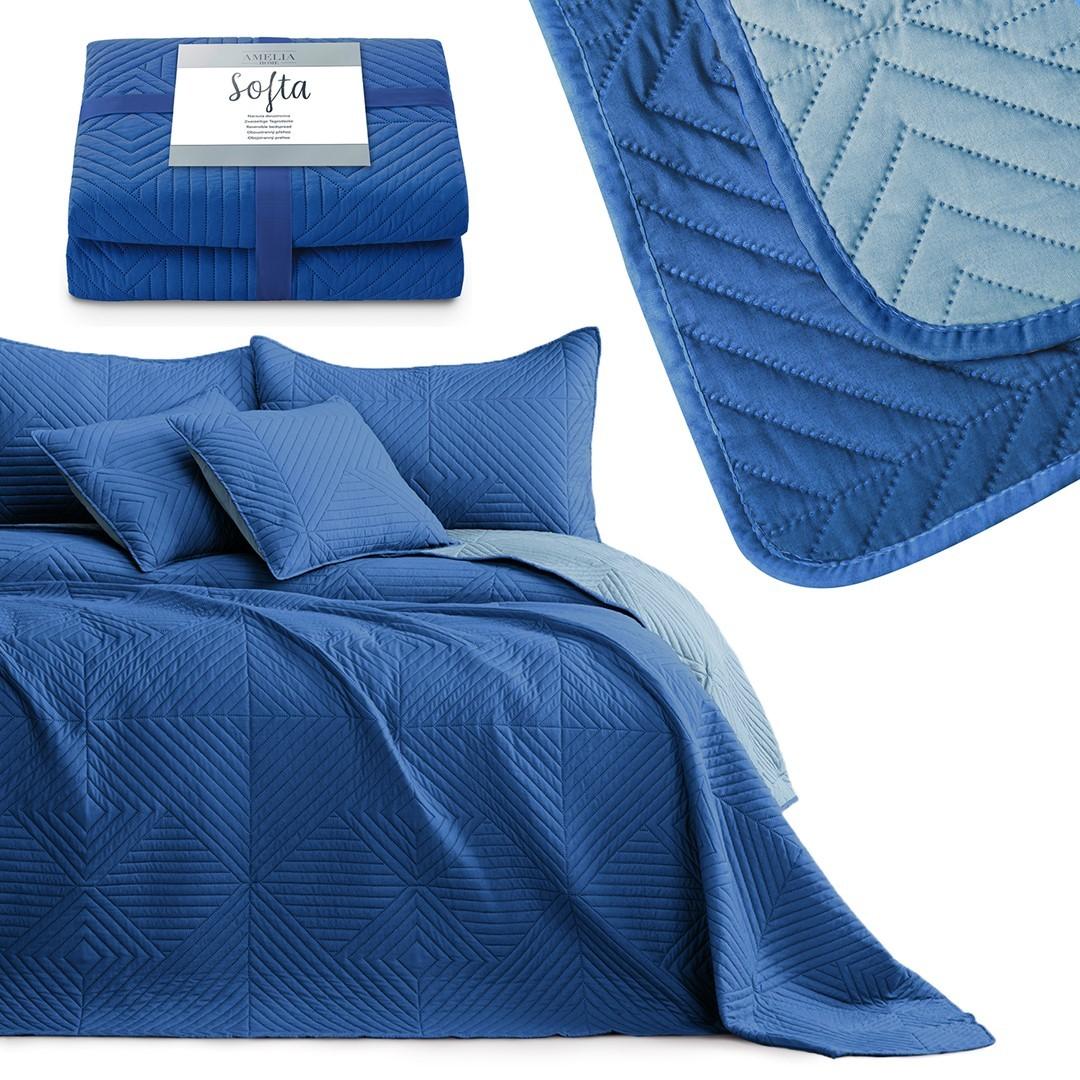 AmeliaHome Oboustranný přehoz na postel Sofia modrý