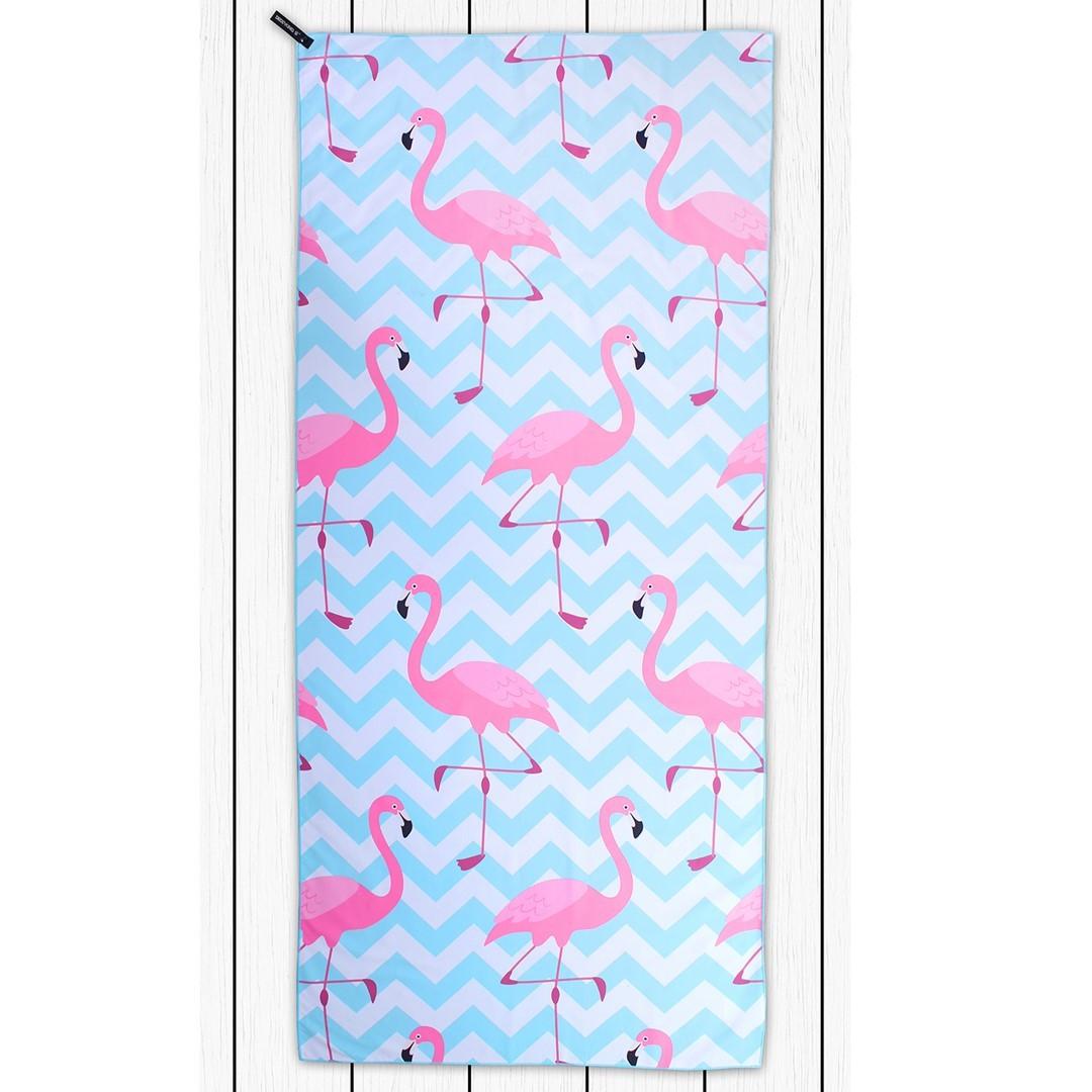 Osuška z mikrovlákna DecoKing Flamingos modro-růžový