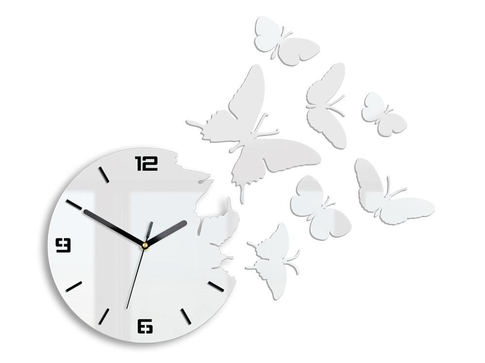 Mazur 3D nalepovací hodiny Butterfly bílé