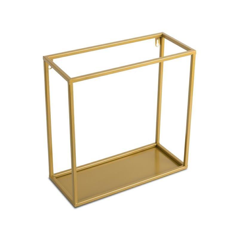 DekorStyle Nástěnná police Dinett 35 cm zlatá