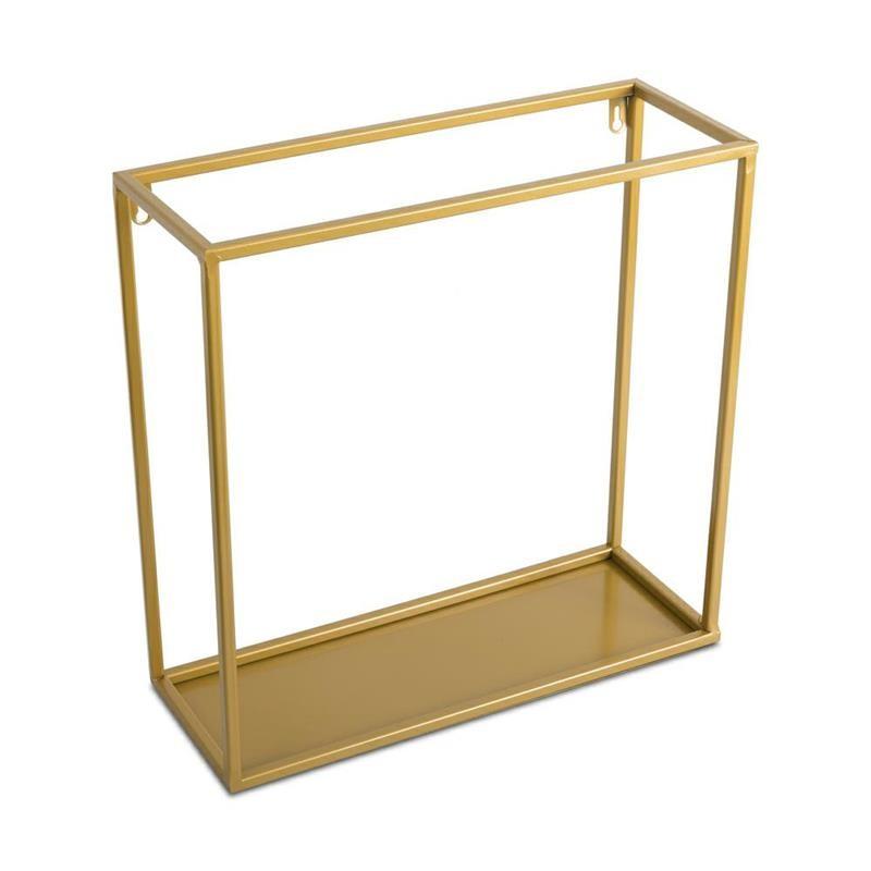 DekorStyle Nástěnná police Dinett 40 cm zlatá