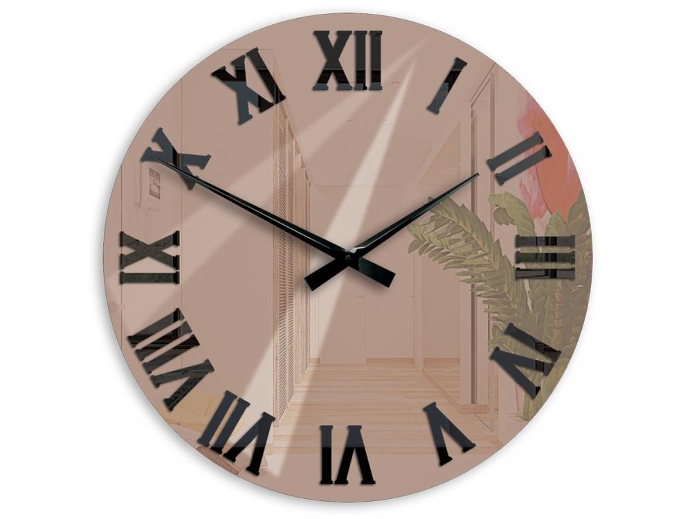 Mazur Nástěnné hodiny Mirror hnědé