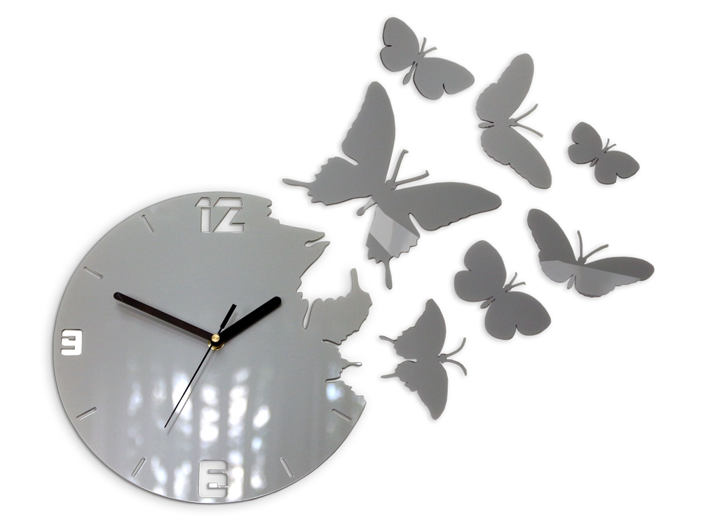 Mazur 3D nalepovací hodiny Butterfly šedé