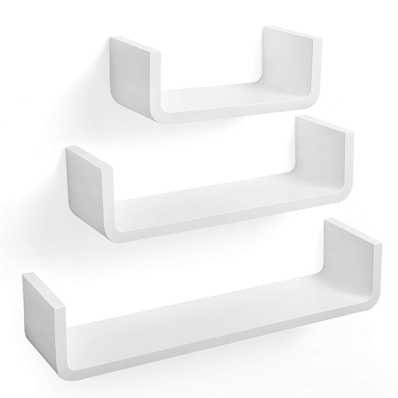 Rongomic Nástěnné poličky Essk bílé - 3 kusy